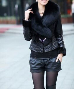 Real leather+ fur jacket coat with fur collar black free shipping Stitch Short 7