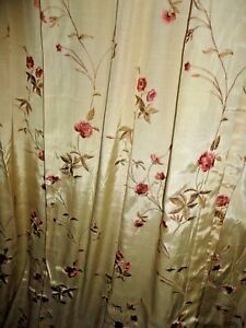 CROSCILL ROSE GARDEN CREAM FLORAL EMBROIDERED 6PC UNLINED PANELS amp; VALANCES