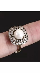 Antique Vintage 925 Silver Ring Majorca Pearl with Topaz