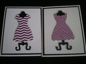 6 DRESS FORM 6 DRESS DIE CUTS from STAMPIN UP CS & Double-sided designer paper!