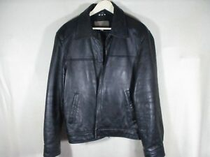 Men's GUESS Leather JACKET Casual Zip-Up BIKER Motorcycle COAT Size Large