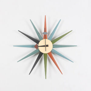 Wall Clock George Nelson Sunburst Wood Clock Reproduction Designe Furniture 19in