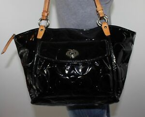 COACH Large Black Signature Patent Leather Shoulder Hobo Tote Satchel Purse Bag