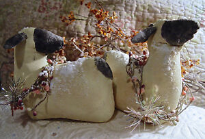 2 SHEEP WINTER PRIMITIVE DOLL HAND MADE CHRISTMAS PEACEFUL TUCK SITTER