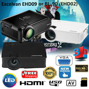 7000 Lumens FHD 1080P 3D LED LCD Projector Multimedia Home Theater USB HDMI AV
