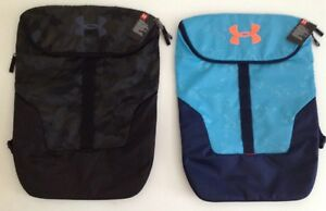 New Under Armour Storm Expandable Sackpack Backpack 1300203 Black Camo Blue Navy