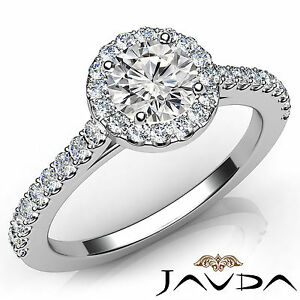 Shiny Round Diamond Engagement GIA F VVS2 Platinum Shared Prong Set Ring 1.21Ct