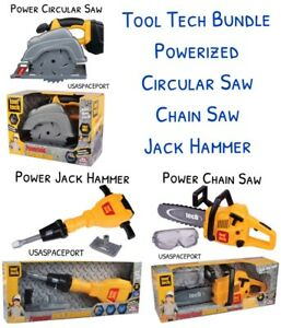 Kids Construction POWER Tools CHAIN+CIRCULAR SAW +JACK-HAMMER+Safety Goggles Set