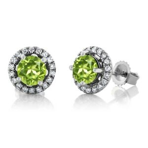 14K White Gold Diamond Halo Earrings set with 1.18 CTTW Round Green Peridot
