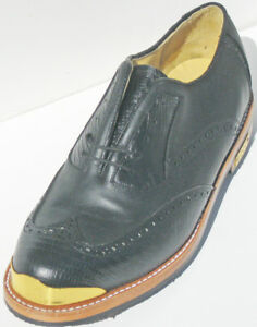 Vecci New Classic Black wing tip Leather Gold Toe Golf Shoe- C-D-EWidtH SMRP$370