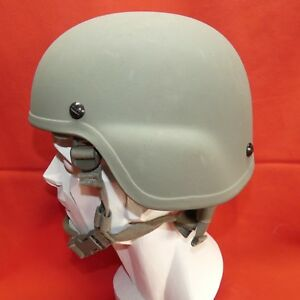 ACH MICH USED Helmet MSA size SMALL PADS Chinstrap GRAY S# 33