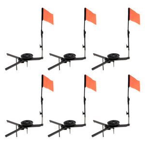 6pcs ABS Ice Fishing Rods Round Tip-Up with Orange Flag Ice Fishing Tackle