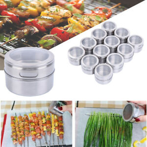 12pcs Magnetic Spice Stainless Steel Tins Round Storage Container Jars Clear Lid