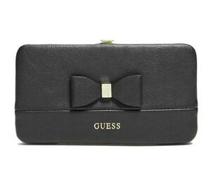 GUESS Womens Black Faux Leather Logo Hardcase Wallet w Rhinestone Bow Detail NEW