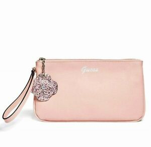 GUESS Womens Pink Faux Leather & Rhinestone Glitter Flower Wristlet Pouch NEW