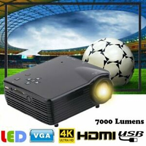 Full HD 1080P LCD Projector LED Multimedia Home Theater USB HDMI 7000 Lumens TO