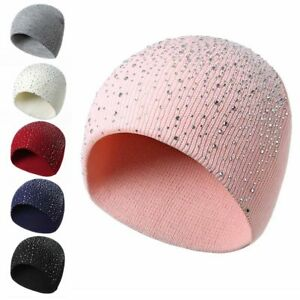 Autumn Winter Knitted Hat Crystal Shining Warm Beanie Women Girl Cap for Outdoor