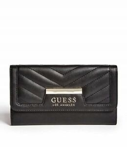 GUESS Womens Black & Silver Faux Leather Tri-Fold Logo Wallet & Purse NEW