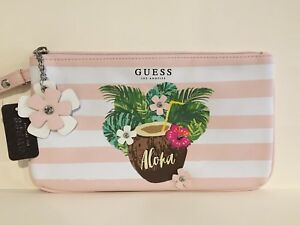 GUESS Womens Pink & White Faux Leather Rhinestone Logo Wristlet Wallet Pouch NEW