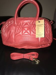 New Red Clever Carriage Soft Leather Satchel Handbag