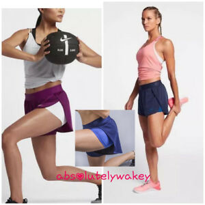 Nike Dri-FIT 2-IN-1 Women's Training Shorts Fitted Inner TIGHTS BUILT-IN TIGHTS