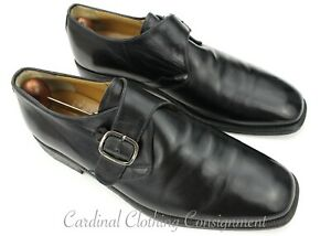 Mens TODS Black Single Monk Strap Plain Toe Leather Designer DRESS SHOES 10
