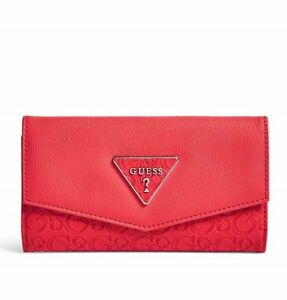GUESS Womens Red Logo Embossed Faux Leather Slim Tri-Fold Wallet NEW