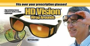 Night Vision Driving Wraparound Sunglasses Fits Over Glasses As Seen On TV New