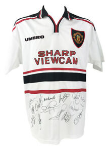 SIGNED MANCHESTER UNITED SHIRT - FULLY AUTOGRAPHED - TREBLE 1999 + *CERTIFICATE*