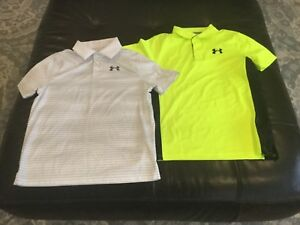 Under Armour Golf boys Heatgear loose fit polo shirts(set of 2)size YLG