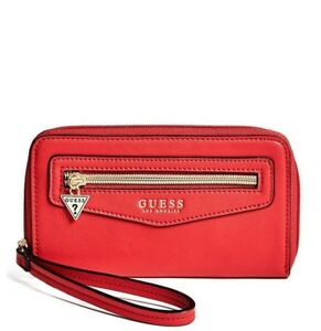 GUESS Womens Red Faux Leather Zip Round Smartphone Logo Wristlet Wallet NEW