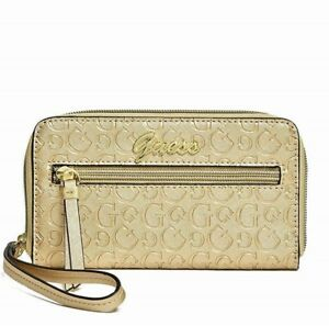 GUESS Womens Gold Zip-Around Faux Leather Logo Smartphone Wristlet Wallet NEW