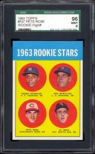 1963 Topps #537 Pete Rose Rookie Card -- SGC 96+ Extremely well centered. Sharp!