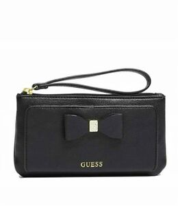 GUESS Womens Black Faux Leather Smartphone Wristlet Wallet with Bow Detail NEW