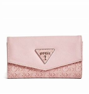 GUESS Womens Mauve Logo Embossed Faux Leather Slim Tri-Fold Wallet NEW