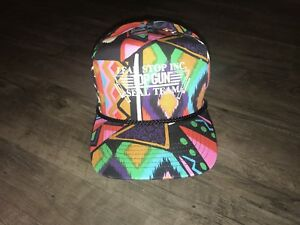 Vtg TROPICAL TRUCKER HAT SNAPBACK  SAN SUN Aztec Multi Color Unique Top Gun Logo