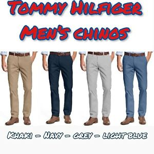 TOMMY HILFIGER Men#x27;s Tailored Fit Chino Pants Flat Front VARIETY NWT FREE SHIP $19.99