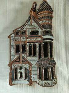 Victorian House Decor - Ceramic 3D house with glazed finish and cork backing.
