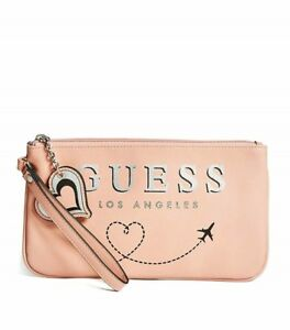 GUESS Womens Pink Faux Leather Travel Theme Logo Wallet Pouch Heart Charm NEW