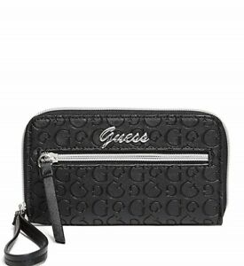 GUESS Womens Black Zip-Around Faux Leather Logo Smartphone Wristlet Wallet NEW