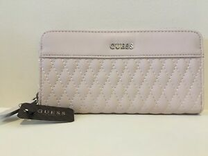 GUESS Womens Neutral Blush Quilted Faux Leather Logo Zip-Around Wallet NEW