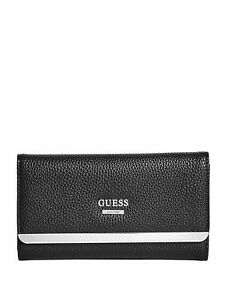 GUESS Womens Black & Silver Faux Leather Tri-Fold Logo Wallet Purse NEW