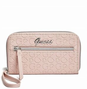 GUESS Womens Pink Zip-Around Faux Leather Logo Smartphone Wristlet Wallet NEW