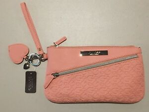 GUESS Womens Pink Faux Leather Logo Wristlet Wallet Pouch w- Heart Keychain NEW