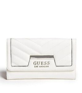 GUESS Womens White & Silver Faux Leather Tri-Fold Logo Wallet & Purse NEW