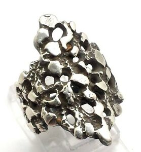 Modernist Unique Form Design Sterling Silver 925 Ring 10g Sz6 S1275