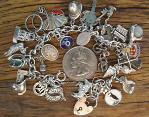 Vintage English Sterling Silver Traditional CHARM Bracelet w28 Charm