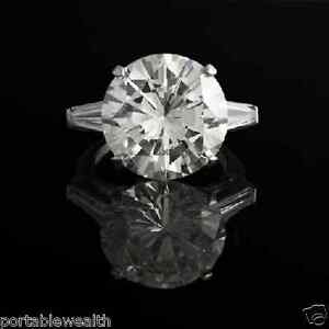 11.87ct Large Round Diamond Mid Color VVS2 Mounting Platinum Ring Natural