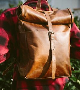 Leather Rolltop Backpack - Brown Leather Backpack Vintage Style Backpack