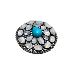 Sleeping Beauty Turquoise Diamond Moonstone Ring 925 Sterling Silver Jewelry New